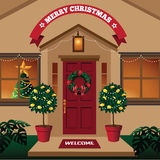 Christmas front door in a warm climate with tropical plants Royalty Free Stock Photos