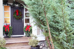Christmas front door Royalty Free Stock Photos