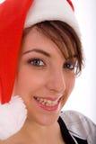 christmas front hat smiling view wearing woman Στοκ εικόνες με δικαίωμα ελεύθερης χρήσης