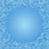 Christmas frost frame. Christmas  light blue background with frame of white frost patterns. Square format Stock Images