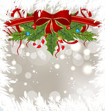 Christmas frosty card with holiday decoration Stock Photos