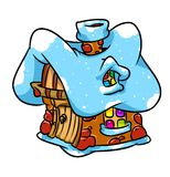 Christmas frozen little  house cartoon illustration Royalty Free Stock Images