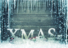 Christmas - frozen - Xmas tree lettering subtitles Stock Photography