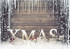 Christmas - frozen - Xmas tree lettering subtitles Royalty Free Stock Photography