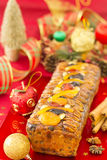 Christmas Fruit-cake with christmas decoration Royalty Free Stock Photography