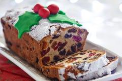 Christmas fruit cake stock photo