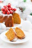 Christmas fruit cake and decorations Stock Photos