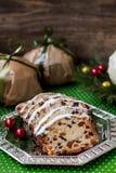 Christmas fruit cake. Gift, christmas decor Stock Photos