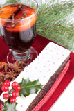 Christmas  fruit cake with holy and mulled wine Stock Photography