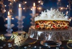 Christmas fruit cake stock photos