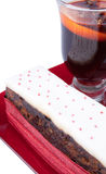 Christmas  fruit cake with mulled wine Royalty Free Stock Photography