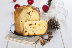Christmas fruit cake panettone Royalty Free Stock Photos