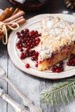 Christmas fruit cake, pudding on white plate. Christmas decoration stock images