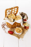 Christmas fruit mince pie in a woven basket Stock Photo