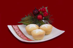 Christmas Fruit Mince Pies on Plate on Red Stock Photo