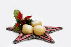 Christmas Fruit Mince Pies on Star - Isolated Royalty Free Stock Images