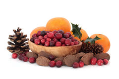 Christmas Fruit and Nuts Stock Photos