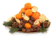 Christmas Fruit and Nuts Stock Image