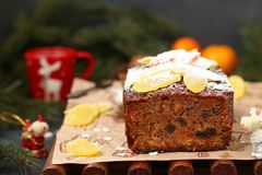 Christmas fruitcake with candied fruits and dried fruit stock images