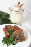 Christmas Fruitcake and Eggnog Stock Photos