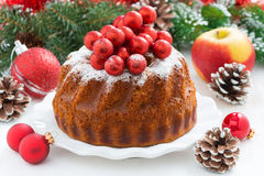 Christmas fruitcake on a plate Royalty Free Stock Image