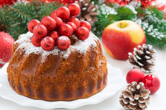 Christmas fruitcake on a plate, close-up Royalty Free Stock Image