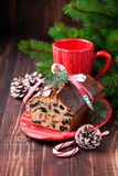 Christmas fruitcake with raisins Royalty Free Stock Photos