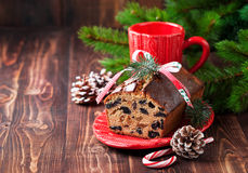 Christmas fruitcake with raisins Royalty Free Stock Photo