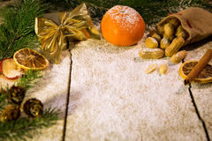 Christmas fruits on a sugared table Stock Image