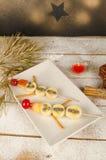Christmas fruity dessert for kids Stock Images