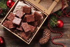 Christmas fudge traditional homemade chocolate Royalty Free Stock Photo