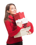 Christmas fun with brunette beauty. Royalty Free Stock Photography