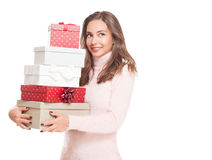 Christmas fun with brunette beauty. Royalty Free Stock Photo