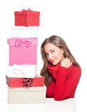 Christmas fun with brunette beauty. Royalty Free Stock Photos