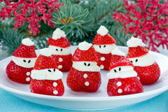 Christmas fun food idea - strawberry Santa Claus, healthy and de Stock Photo