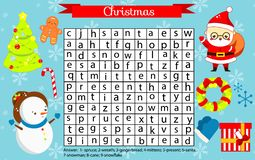 Christmas fun page for kids. Children Eductaional game. Word search puzzle. New Year holidays theme learning vocabulary.  royalty free illustration