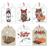 Christmas funny animals tag set Royalty Free Stock Images