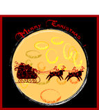 Christmas funny card. Christmas background with Santa's sleigh and reindeer in silhouette against the moon Stock Image