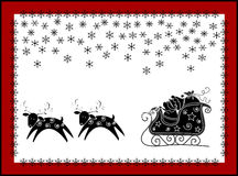 Christmas funny card. Christmas background with Santa's sleigh and reindeer in silhouette against the moon Stock Photography