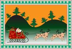 Christmas funny card. Christmas background with Santa's sleigh and reindeer Stock Photos
