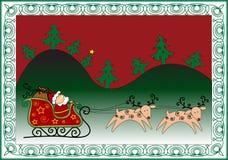 Christmas funny card. Christmas background with Santa's sleigh and reindeer Stock Photography