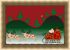 Christmas funny card. Christmas background with Santa's sleigh and reindeer Royalty Free Stock Images