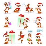 Christmas funny cartoon dog set. Puppy emoticons. Stock Photography