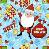 Christmas funny cartoon pattern with Santa Claus, a gift, a bell, snowflake Royalty Free Stock Images