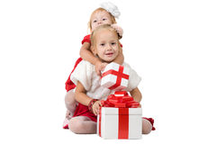 Christmas. funny company of young children Stock Photography