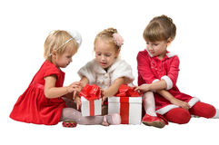Christmas. funny company of young children Stock Image