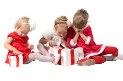 Christmas. funny company of young children Royalty Free Stock Images