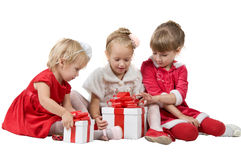 Christmas. funny company of young children Stock Images