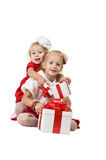 Christmas. funny company of young children Royalty Free Stock Image