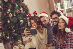 Christmas funny crazy selfie time Royalty Free Stock Images